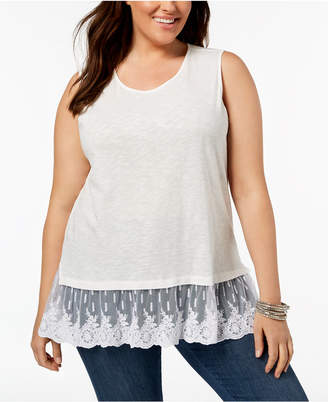 Style&Co. Style & Co Plus Size Flounce Mesh-Hem Tank Top, Created for Macy's