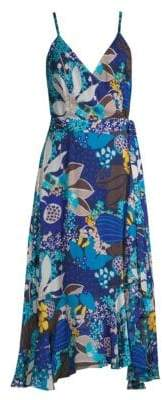 Trina Turk Found In Translation Kaciee Printed Wrap Midi Dress