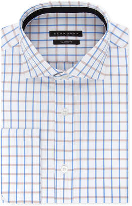 Sean John Men's Classic/Regular-Fit Blue/Tan Check French Cuff Dress Shirt