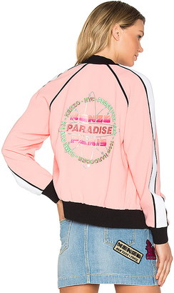 Kenzo Crepe Back Satin Bomber Jacket in Pink $625 thestylecure.com