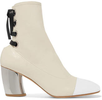 Proenza Schouler Lace-up Glossed Textured-leather Ankle Boots - White