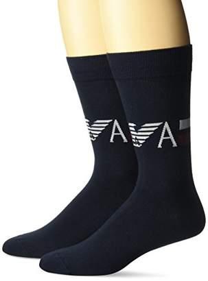 Emporio Armani Men's Plain Stretch Cotton Two Pack Short Socks
