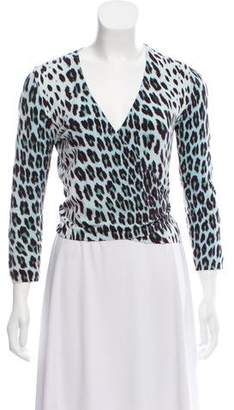 Blumarine Animal Print Wrap Top