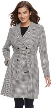 Elle Women's Houndstooth Trench Coat