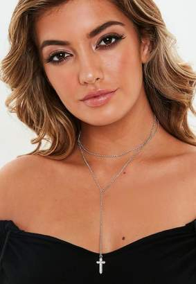 Missguided Silver Look Diamante Cross Multirow Necklace, Neutral