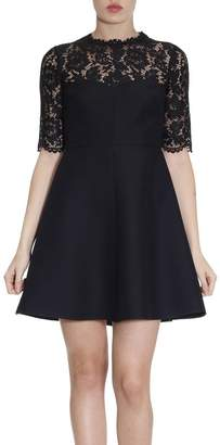 Valentino Dress Flared Dress With Floral Lace And 3/4 Sleeves