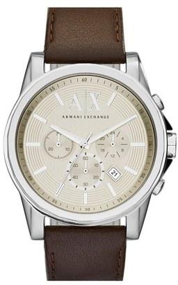 Men's Ax Armani Exchange Chronograph Leather Strap Watch, 45Mm $170 thestylecure.com
