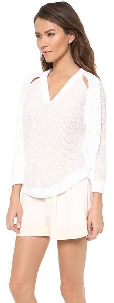 3.1 Phillip Lim Two Color Slit Shoulder V Neck Pullover