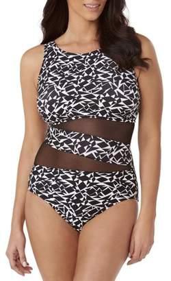 d10f55586661c 100 Degrees Women s Plus-Size Mesh High Neck One-Piece Swimsuit