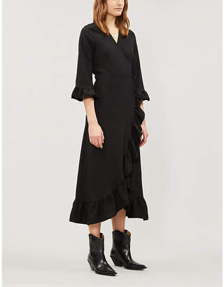 Ganni Clark ruffled stretch-crepe wrap dress