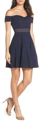 Sequin Hearts Off the Shoulder Glitter Knit Dress