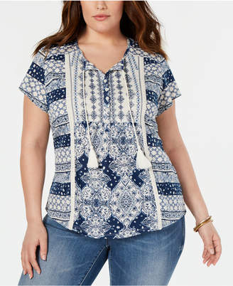 Style&Co. Style & Co Plus Size Printed Split-Neck Top