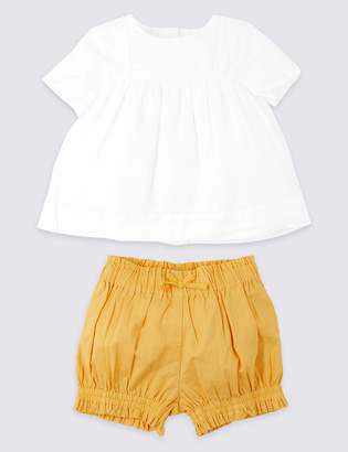 Marks and Spencer 2 Piece Woven Top with Shorts Outfit