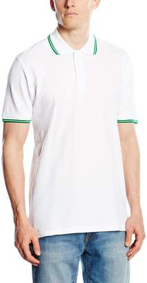 Fruit of the Loom Mens Tipped Short Sleeve Polo Shirt (XXL) (White/Kelly Green)