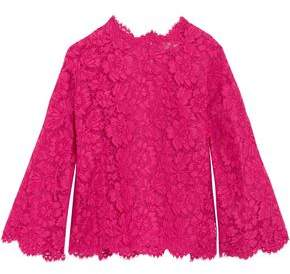 Valentino Layered Lace And Silk-Organza Top