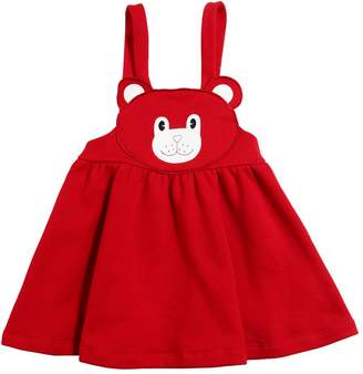 Bear Cotton Sweatshirt Overall Dress