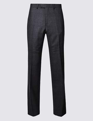 Marks and Spencer Charcoal Checked Regular Fit Wool Trousers