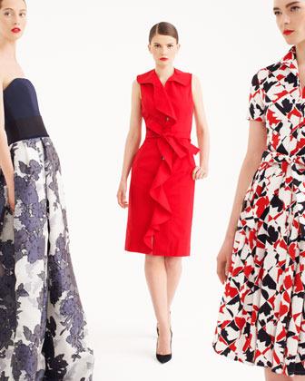 Carolina Herrera Sleeveless Ruffle-Front Dress, Mercury Red