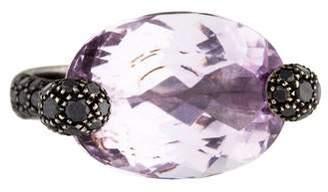 Giorgio Armani 18K Kunzite & Black Diamond Cocktail Ring