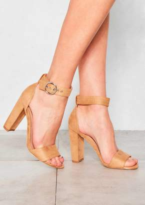 af2a4b70c4e at Missy Empire · Missy Empire Missyempire Tegan Camel Faux Suede Buckle Strap  Heels