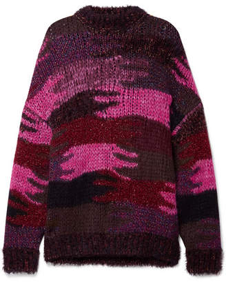 Saint Laurent Intarsia Knitted Sweater - Magenta