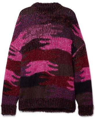 Saint Laurent Intarsia Knitted Sweater - Magenta