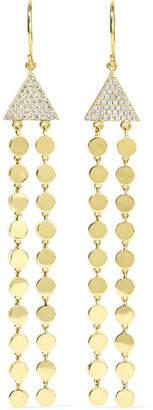 Jennifer Meyer Mini Circle Fringe 18-karat Gold Diamond Earrings