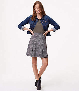 LOFT Petite Plaid Pull On Skirt