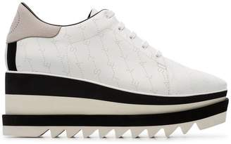 Stella McCartney white Elyse 80 logo flatform brogues