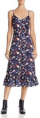 En Creme Floral Print Satin Midi Dress
