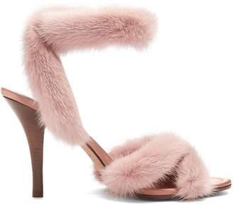 Fur-trimmed 95mm sandals