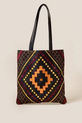 Zahra Ikat Tapestry Tote - Black