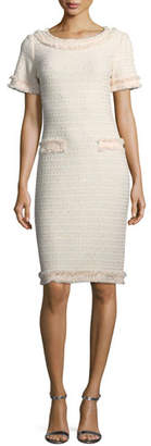 St. John Lais Metallic-Knit Dress w/Fringe Trim