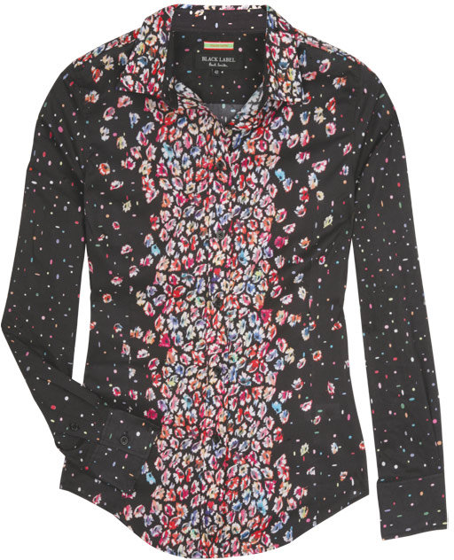 Paul Smith Black Black and Floral Print Border Shirt