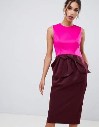 Ted Baker Nikkita Contrast Tulip Bow Midi Dress
