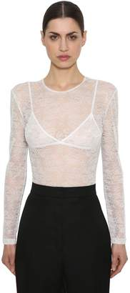 Nina Ricci Lace Stretch Sheer Bodysuit