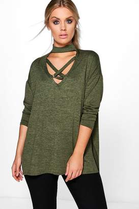 boohoo Plus Cross Front Knitted Jumper