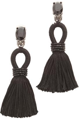 Oscar de la Renta Short Silk Tassel Clip On Earrings $390 thestylecure.com