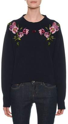 Dolce & Gabbana Crewneck Long-Sleeve Cashmere Sweater with Floral & Heart Applique