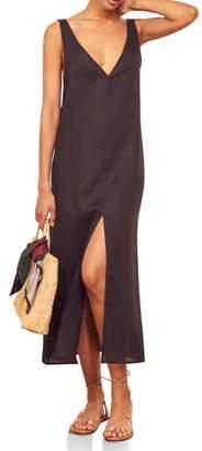 Reformation Monique V-Neck Linen Midi Dress