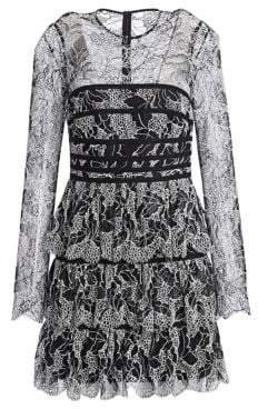 Halston Women's Strapping Detail Lace Dress - Black Cream - Size 0