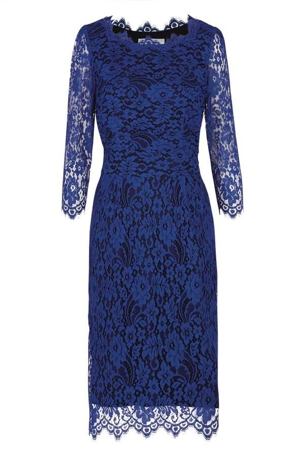 Longer Florence Dress Bright Blue Lace