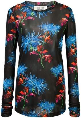 Diane von Furstenberg mesh floral top