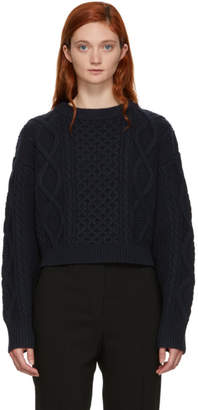3.1 Phillip Lim Navy Cropped Boxy Aran Cable Sweater