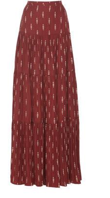 Johanna Ortiz Relatos De Mi Tierra Tiered Jacquard Maxi Skirt Size: 2