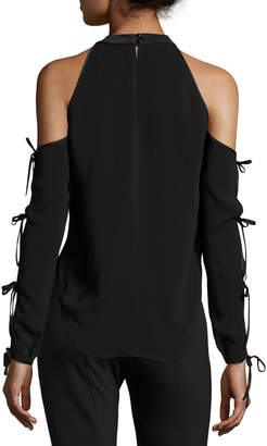 Contemporary Designer Lachland Cold-Shoulder Collar Cutout Blouse