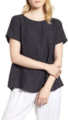 Eileen Fisher Short Sleeve Organic Linen Flutter Top