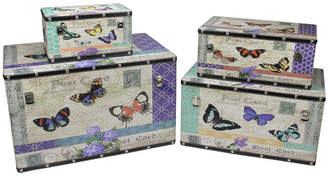 Northlight Set of 4 Wooden Garden-Style Butterfly Decorative Storage Boxes