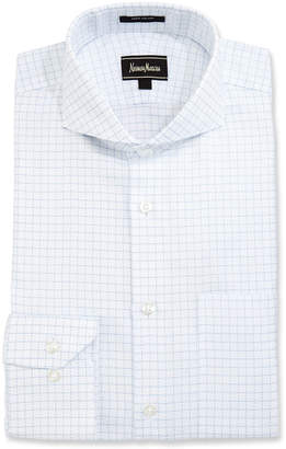 Neiman Marcus Classic-Fit Regular-Finish Square-Print Dress Shirt, White/Blue