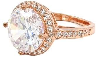 Savvy Cie 18K Rose Gold Plated 15mm Center White CZ Halo Ring